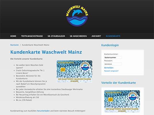 Die Website von Waschwelt mainz mit Kundenkarte