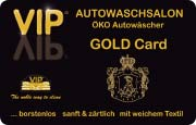 Die Kundenkarte/Bonuskarte der Waschstraße VIP in der Goldausführung