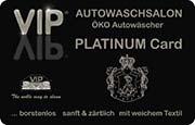 Die Kundenkarte/Bonuskarte der Waschstraße VIP in der Platinausführung