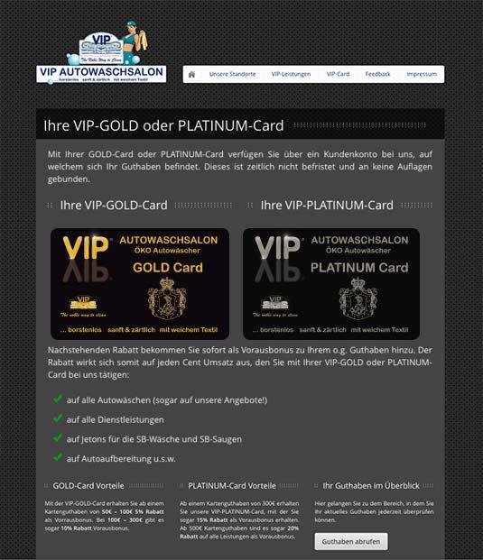 Die Website von VIP Autowaschsalon mit der Kundenkarte