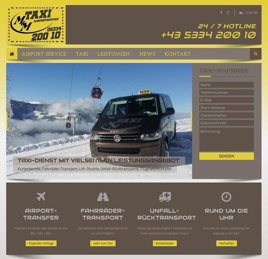 Die Website von M&M Taxi