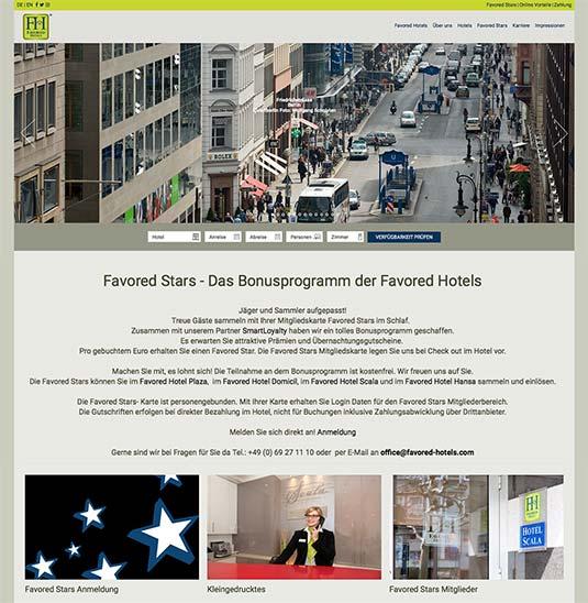 Das Bonusprogramm auf Website der Favored Hotel Gruppe