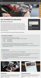 Kundenkarten-Info-Seite der Autohaus-Gruppe Schade