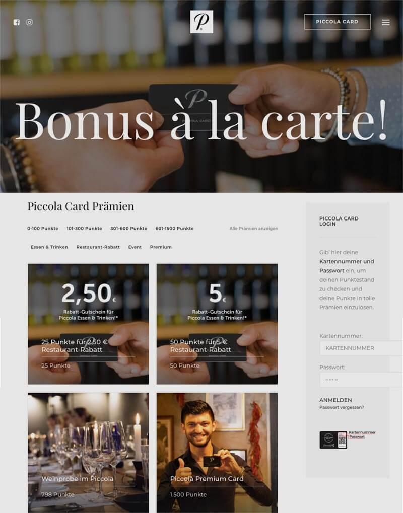 Die Kundenkarte vom Restaurant Piccola auf der Webseite