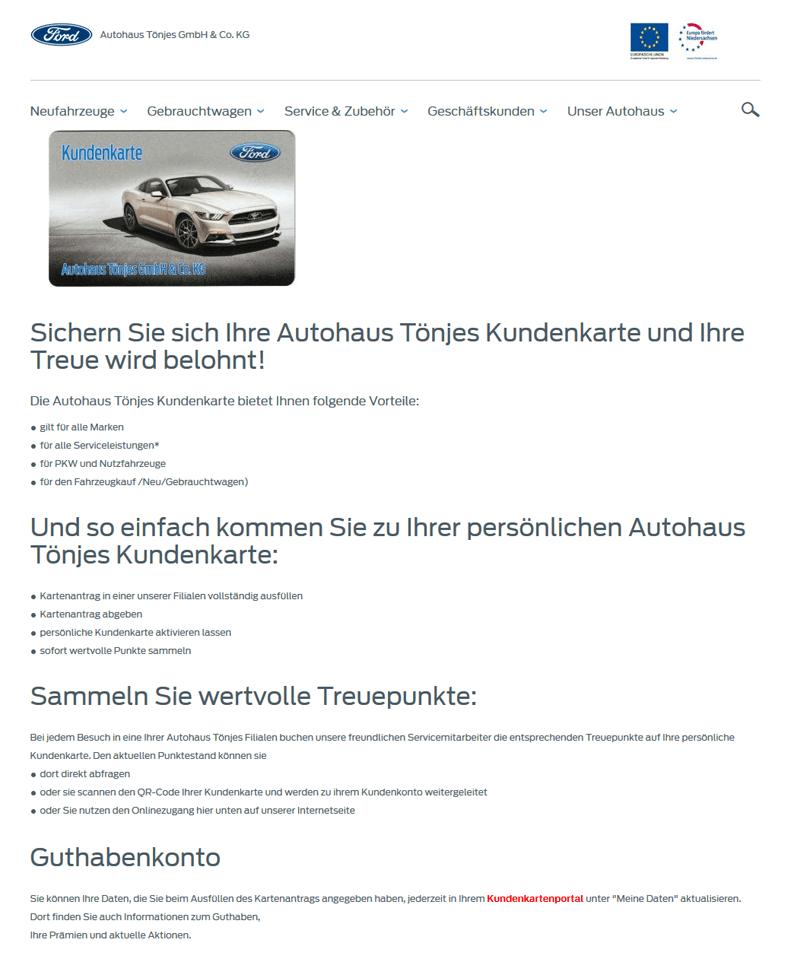 Die Kundenkarte auf der Website von Ford Autohaus Tönjes