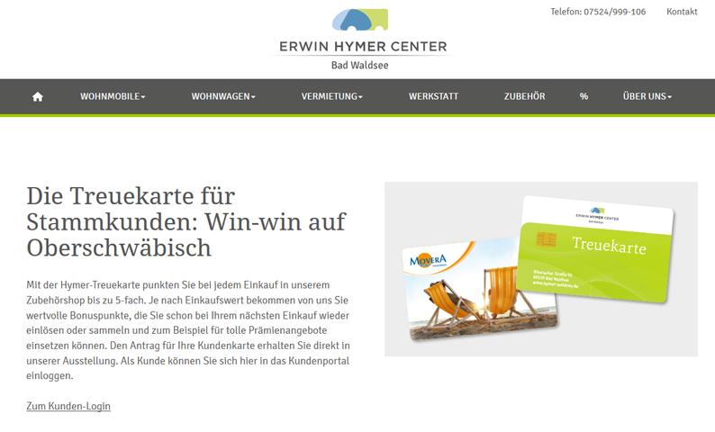 Die Kundenkarte/Bonuskarte auf der Website von Erwin Hymer Center