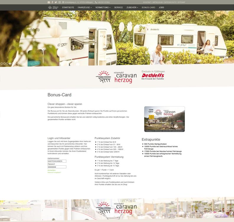 Die Kundenkarte/Bonuskarte auf der Webseite von Caravan Herzog