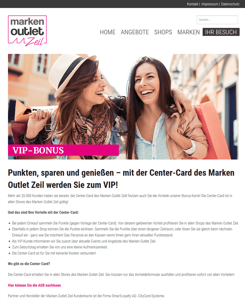Die Kundenkarten-Website von Shopping-Center im Zeil am Main