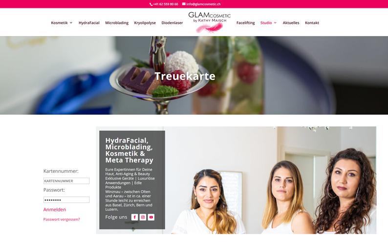 Die Kundenkarte im Beauty/Kosmetik GLAMCosmetic auf der Webseite