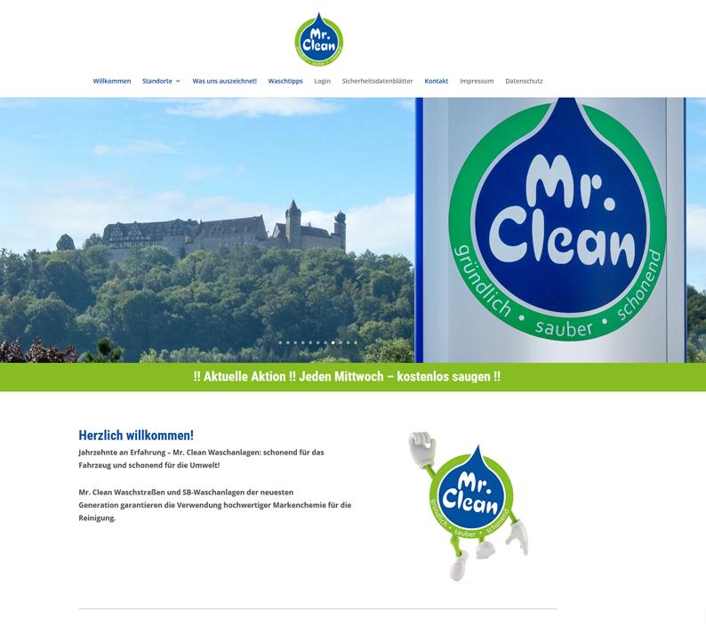 Die Webseite des Waschparks Mr. Clean