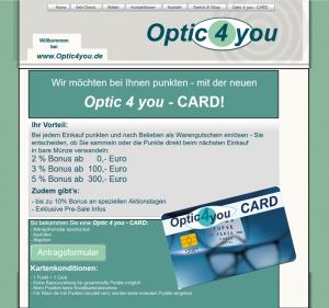 """Kundenkarten/Bonuskarten auf der Website vom Optiker-Fachgeschäft """"Optic 4 you"""""""