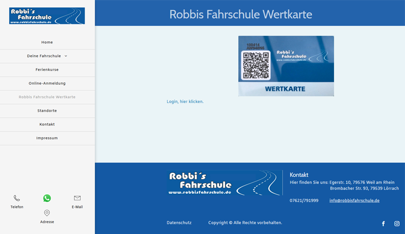 Wertkarte der Robbi`s Fahrschule auf der Webseite