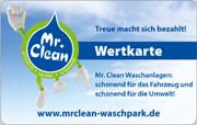 Die Kundenkarte/Wertkarte im Waschpark Mr. Clean