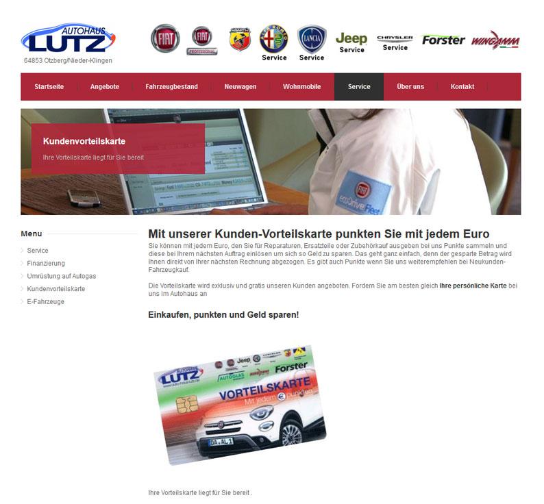 Die Kundenkarte vom Autohaus Lutz auf der Webseite