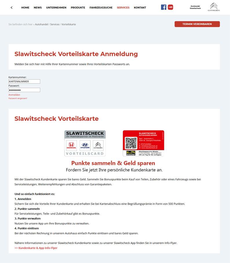 Die Kundenkarte vom Autohandel Slawitscheck auf der Webseite