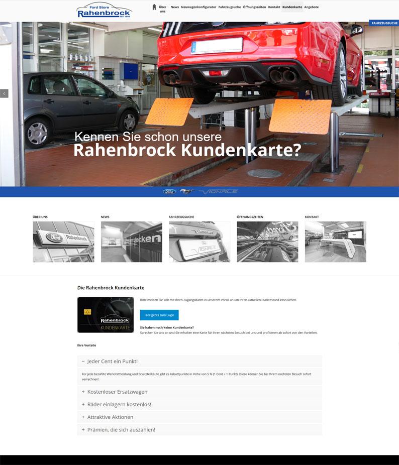 Die Kundenkarte der Rahenbrock Gruppe auf der Webseite