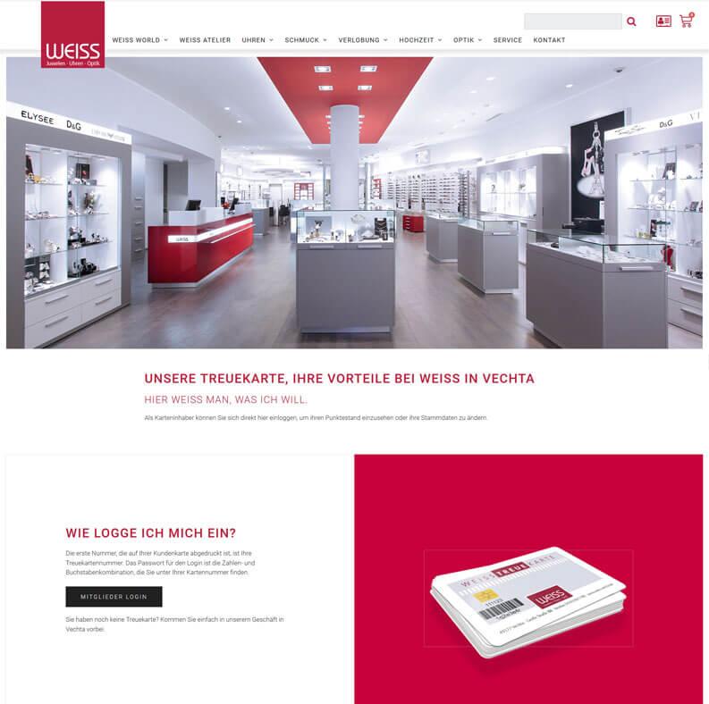 Die Kundenkarte im Juwelier Weiss auf der Webseite