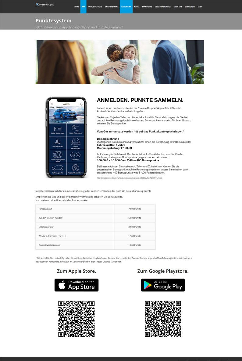 Fresse Gruppe App Punktesystem auf der Webseite