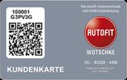 Die Kundenkarte in der Werkstatt Autofit Wotschke