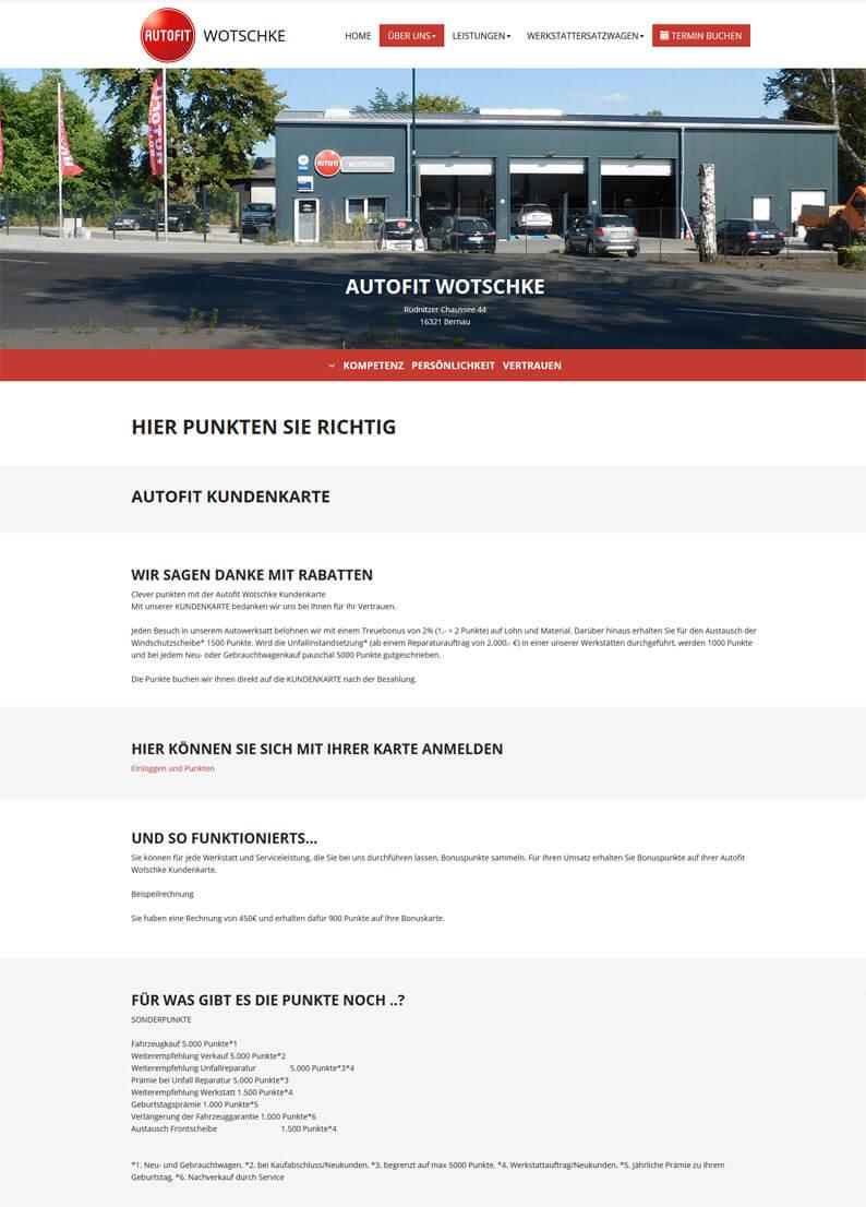 Die Kundenkarte der Werkstatt Autofit Wotschke auf der Webseite