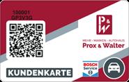Die Kundenkarte der Werkstatt vom Autohaus Prox & Walter