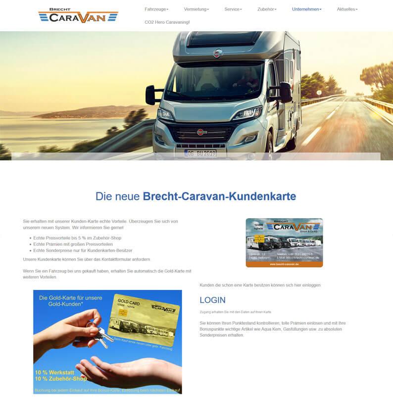 Die Kundenkarte von Brecht Caravan auf der Webseite