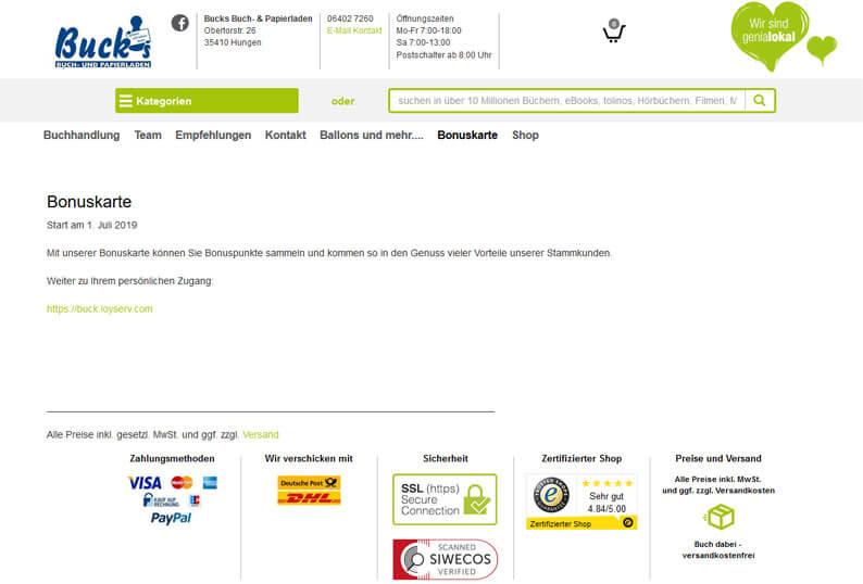Die Kundenkarte beim Buchhandel Buck`s auf der Webseite
