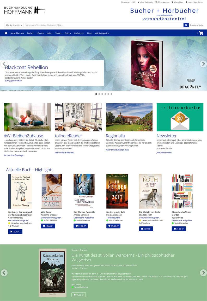 Die Webseite der Buchhandung Hoffmann