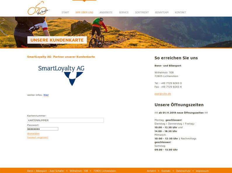 Die Kundenkarte von Renn+Bikesport Axel Schäfer auf der Webseite