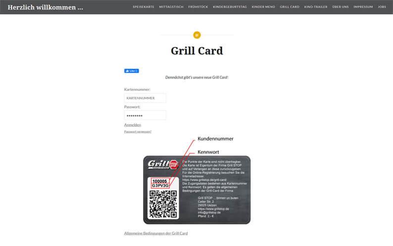 Die Kundenkarte vom Schnellrestaurant Grill STOP auf der Webseite
