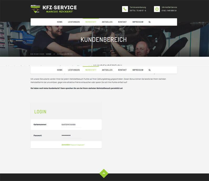 Die Kundenkarte des KFZ-Service Marcus Rückert auf der Webseite