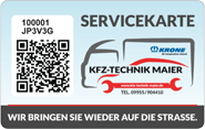 Die Kundenkarte der Werkstatt KFZ-Technik Maier