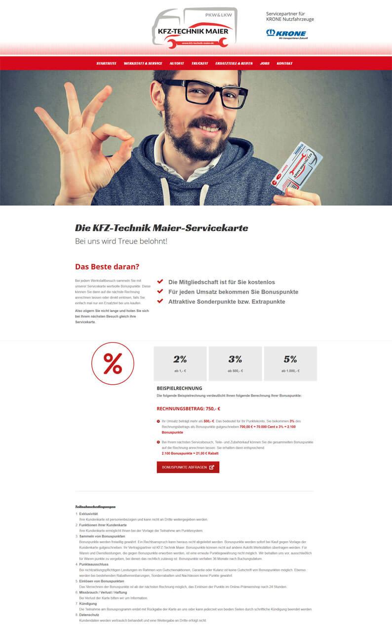 Die Kundenkarte der Werkstatt KFZ-Technik Maier auf der Webseite