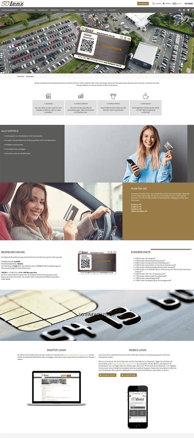 Die Kundenkarte vom Autopark Lenz auf der Webseite
