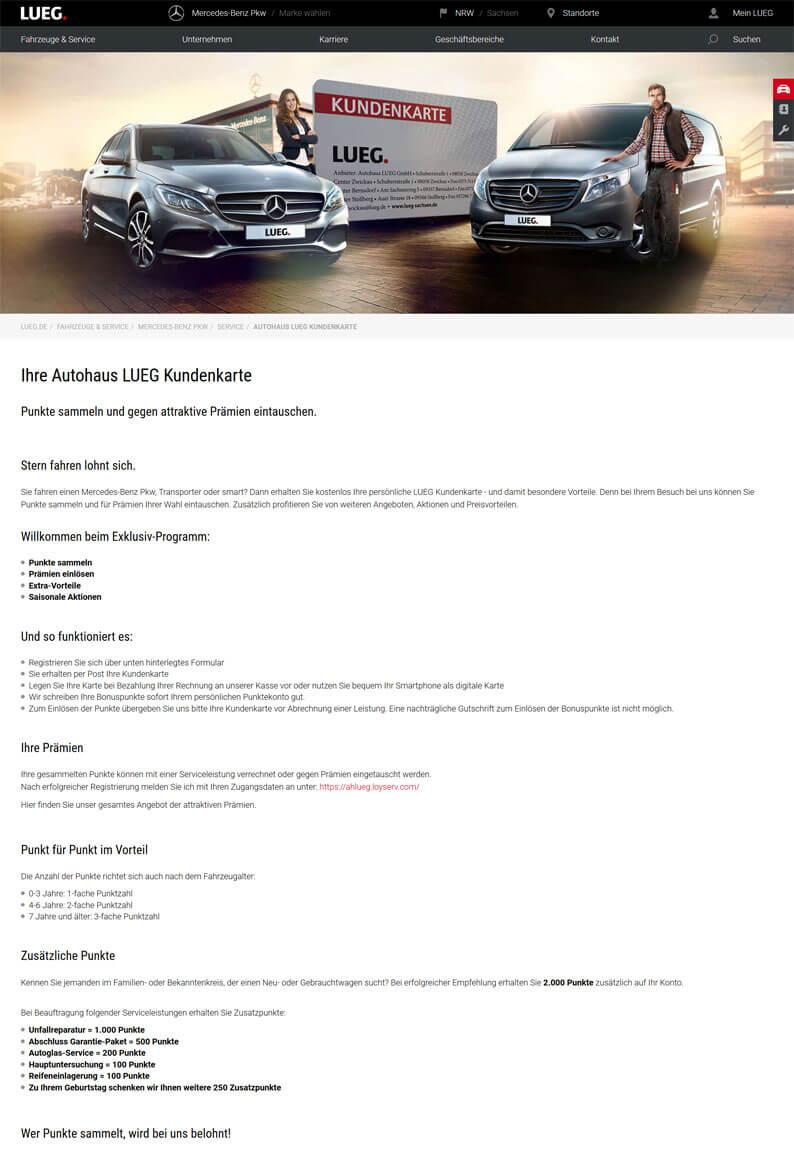 Die Kundenkarte vom Autohaus Lueg auf der Webseite