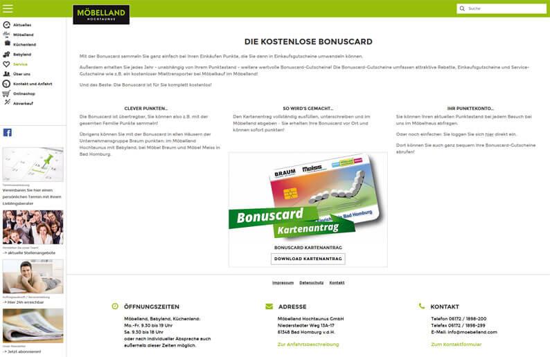 Die Kundenkarte vom Möbelland auf der Webseite