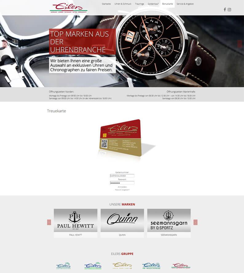 Kundenkarte vom Optiker und Juwelier Eilers auf der Webseite