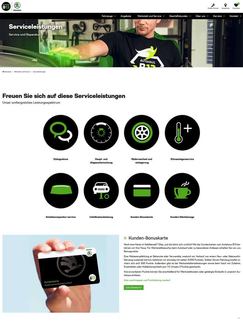 Die Kundenkarte vom Autohaus an der B13 auf der Webseite