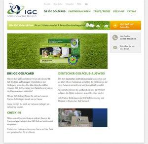 Die Kundenkarte der Golf Community IGC auf der Webseite