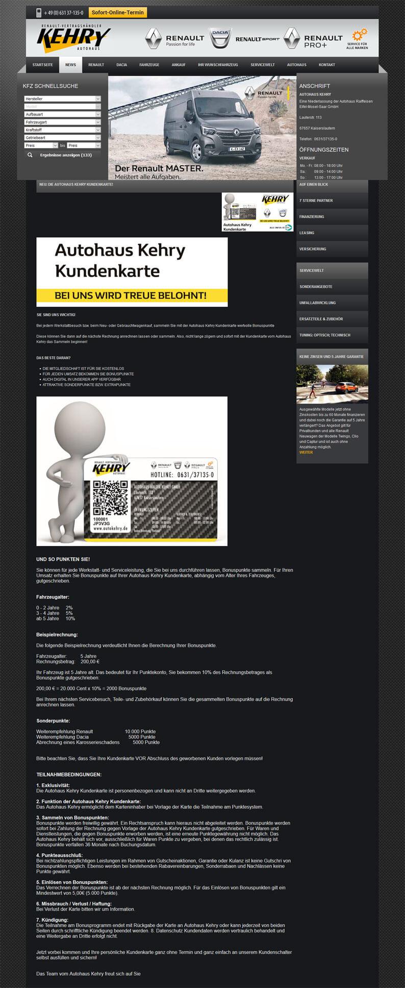 Die Kundenkarte vom Autohaus Raiffeisen (Auto Kehry) auf der Webseite