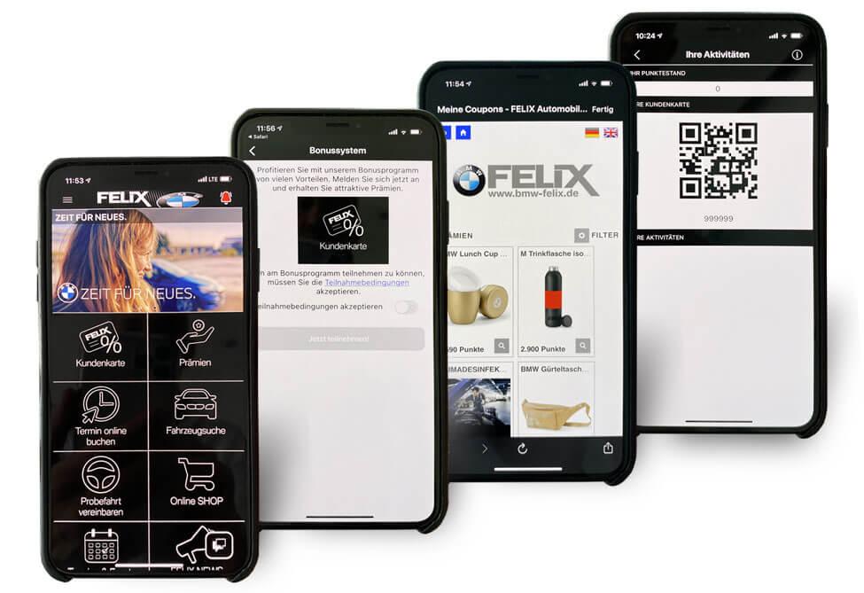 Die Kundenkarten-App von Felix BMW
