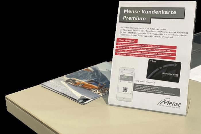 Flyer der Premium Kundenkarte vom Autohaus Mense