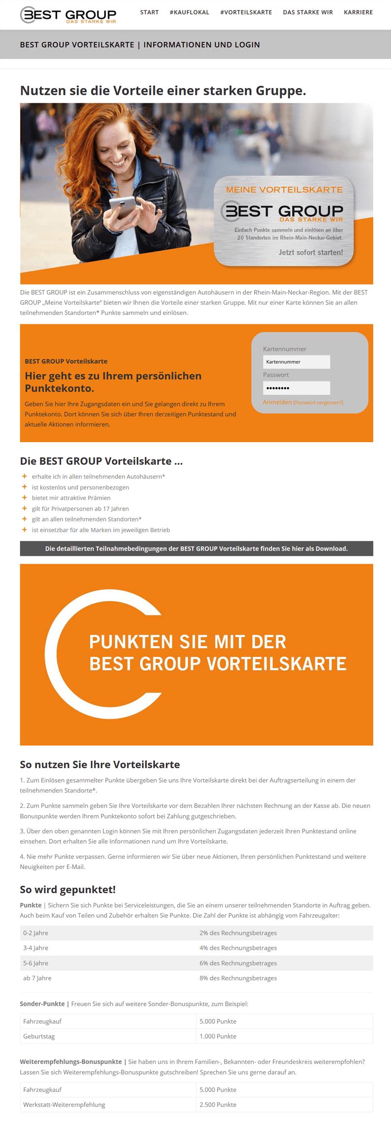 Die Vorteilskarte der Best Group auf der Webseite