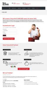 """Die Kundenkarte """"FanCard"""" von Feinschnitt Werbetechnik auf der Webseite"""