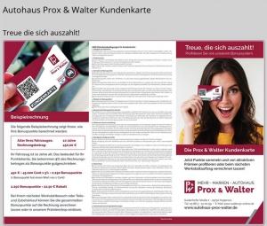 Die Kundenkarte auf der Webseite vom Autohaus Prox & Walter