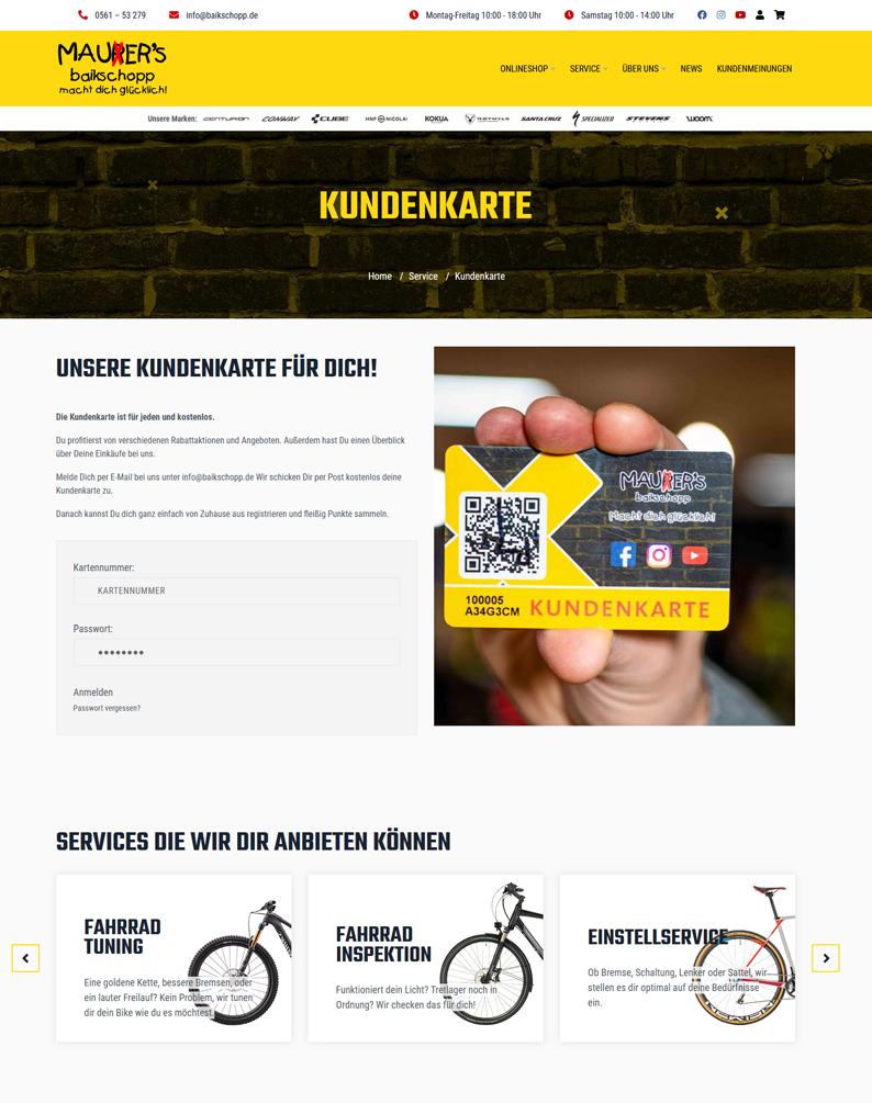 Die Kundenkarte von Mauer`s Baikschopp auf der Webseite