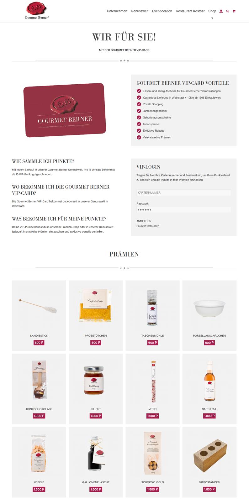Die Kundenkarte von Gourmet Berner auf der Webseite