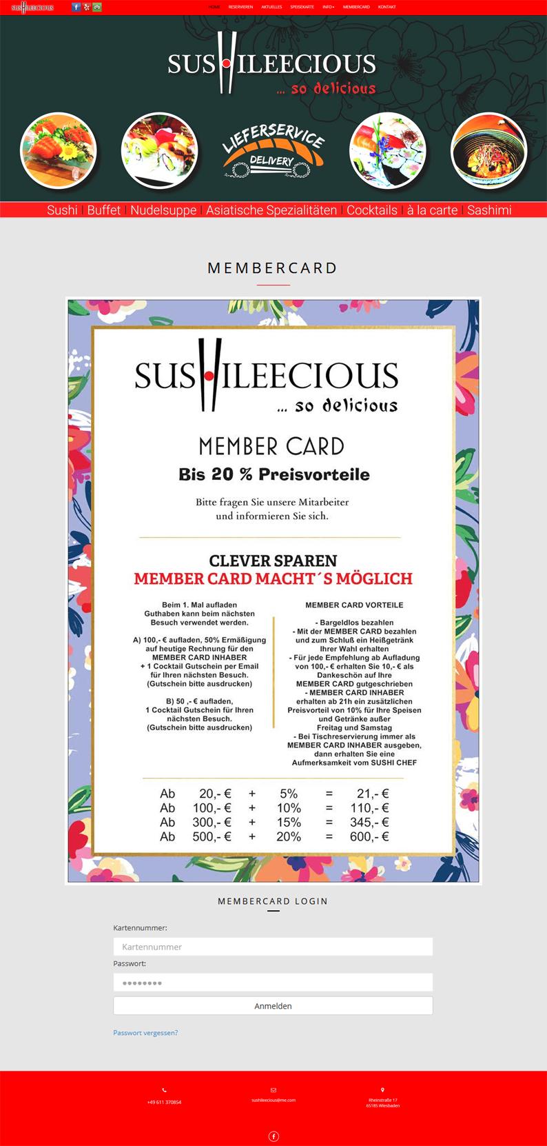 Die Kundenkarte/Bonuskarte auf der Webseite vom Restaurant SushiLeeCious