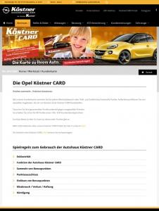 Die Kundenkarte vom Köster Automobile auf der Webseite