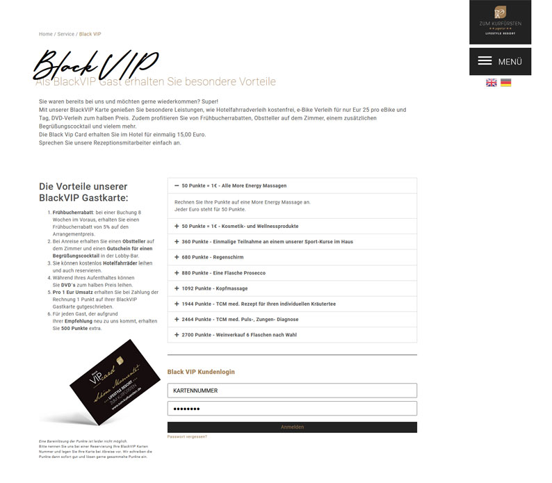 Die Kundenkarte vom Hotel Zum Kurfürsten auf der Webseite